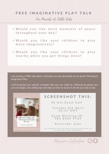 Free Imaginative Play Talk @ Online