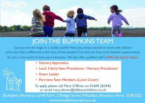 Recruitment:  Bumpkins Nursery