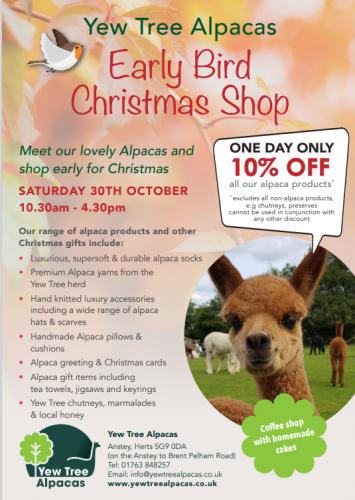 Early Bird Christmas Shop @ Yew Tree Alpacas | Anstey | England | United Kingdom