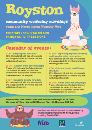 Royston Community Wellbeing Mornings: Sleeping Well for Adults @ Market Hill Rooms, Fish Hill | England | United Kingdom